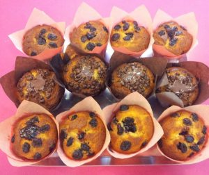 Muffins de vainilla con arandanos o chocolate Arte&Sano