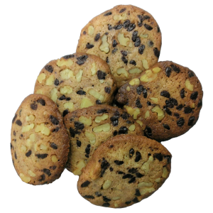 galleta artesana de espelta, nueves y chocolate